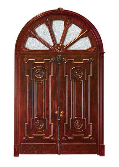雕花圆拱形实木玻璃门