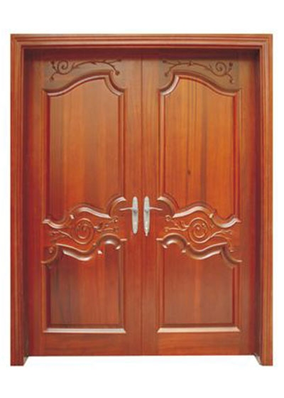 室内雕花隔音双开实木套装门