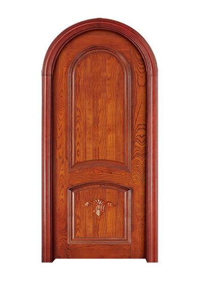室内圆拱形复合雕花实木门