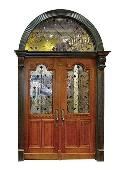 欧美圆拱形实木对开玻璃大门