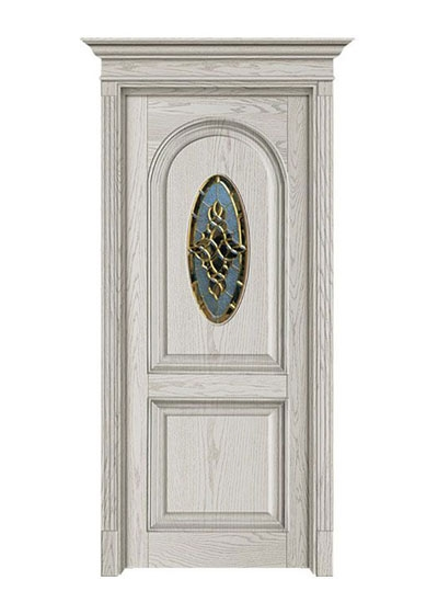 美式实木玻璃套装门